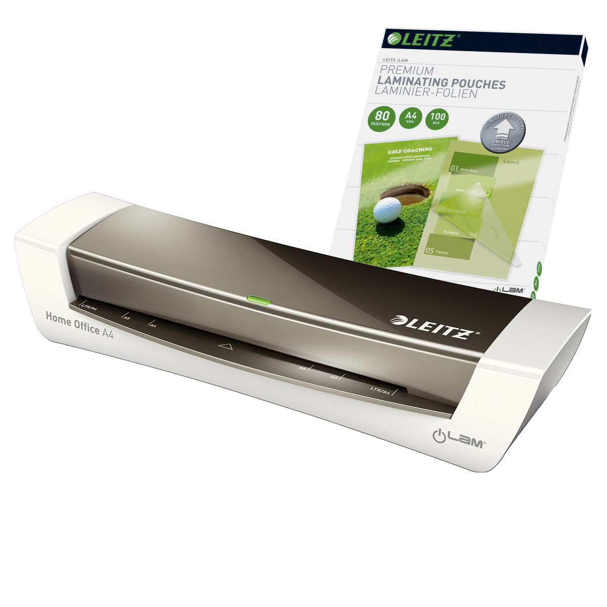 Leitz iLAM Home Office A4 Grey Laminator and Pouches Bundle