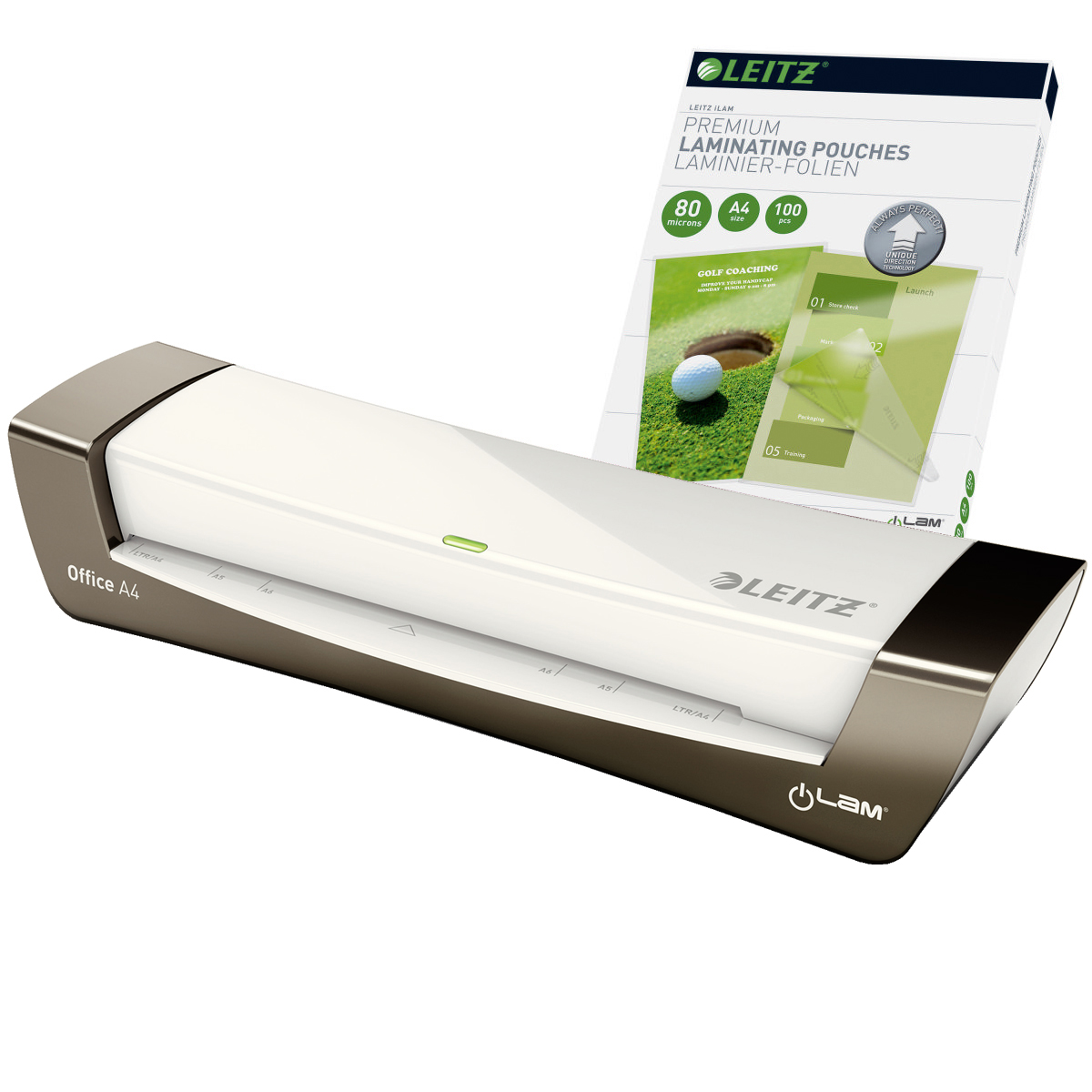Leitz iLAM Office A4 Silver Laminator and Pouches Bundle