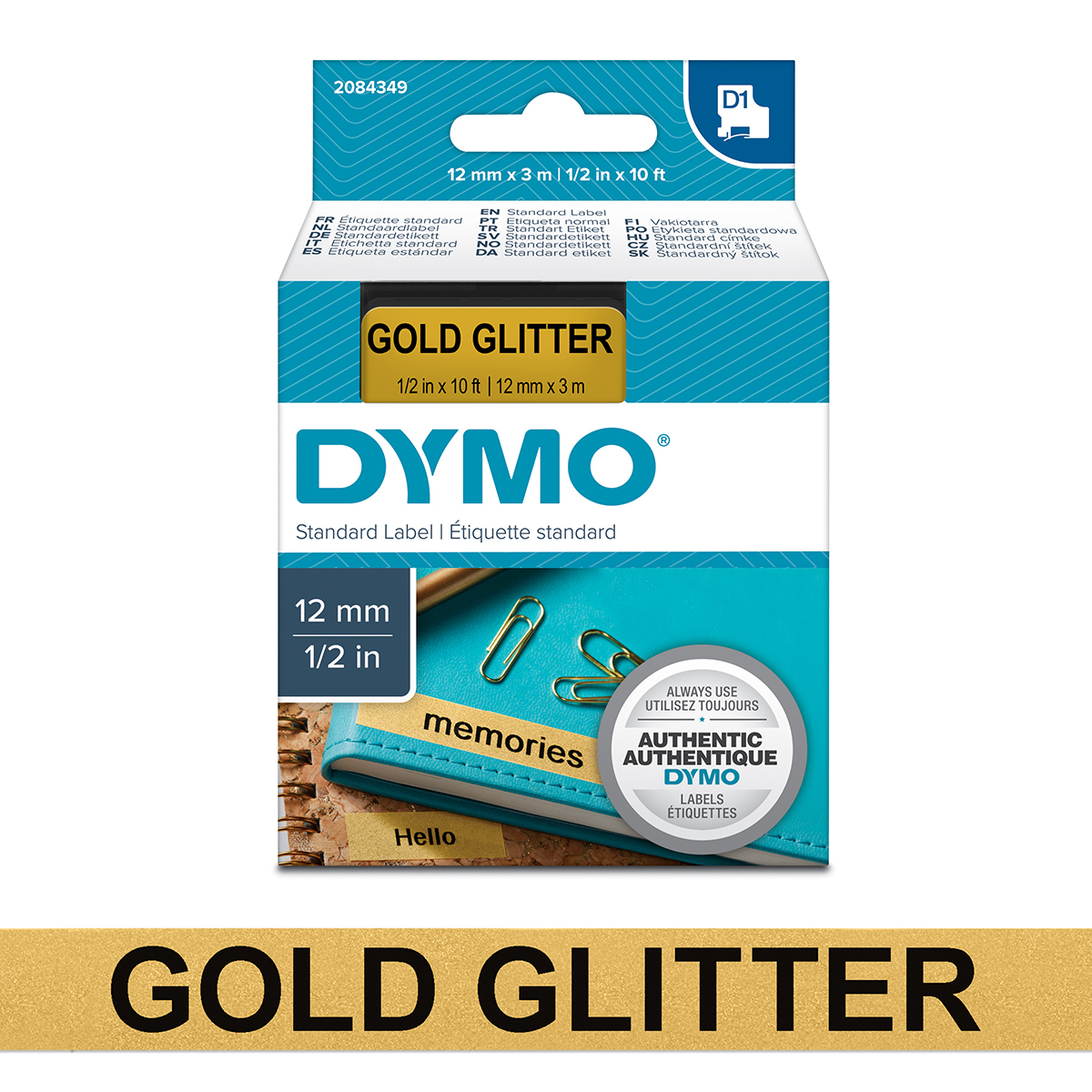 Dymo 2084349 D1 12mm x 3m Black on Gold Glitter Tape