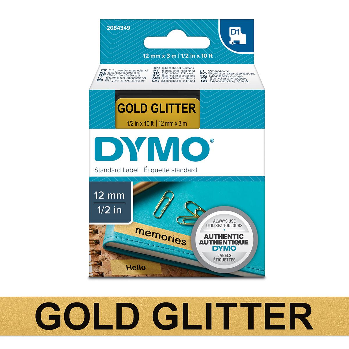 Dymo 2084349 D1 12mm x 3m Black on Gold Glitter Tape
