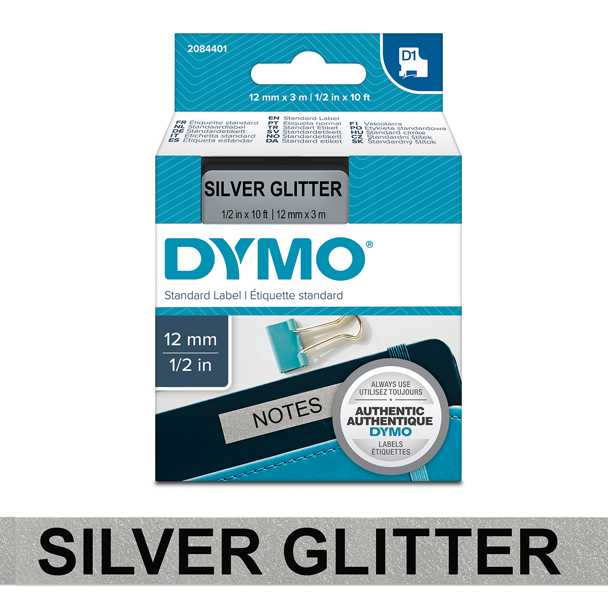 Dymo 2084401 D1 12mm x 3m Black on Silver Glitter Tape