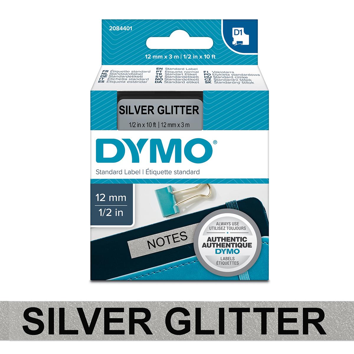 Dymo 2084401 D1 12mm x 3m Black on Silver Glitter Tape