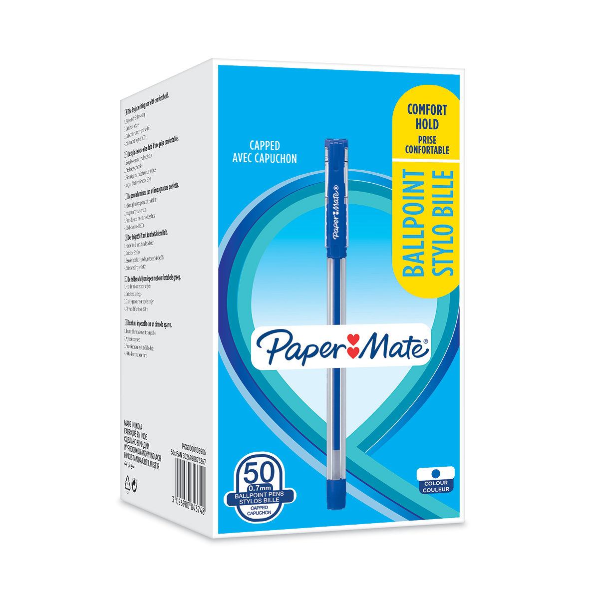 Paper Mate 2084374 Ball Point Capped Stick Grip Blue Box of 50