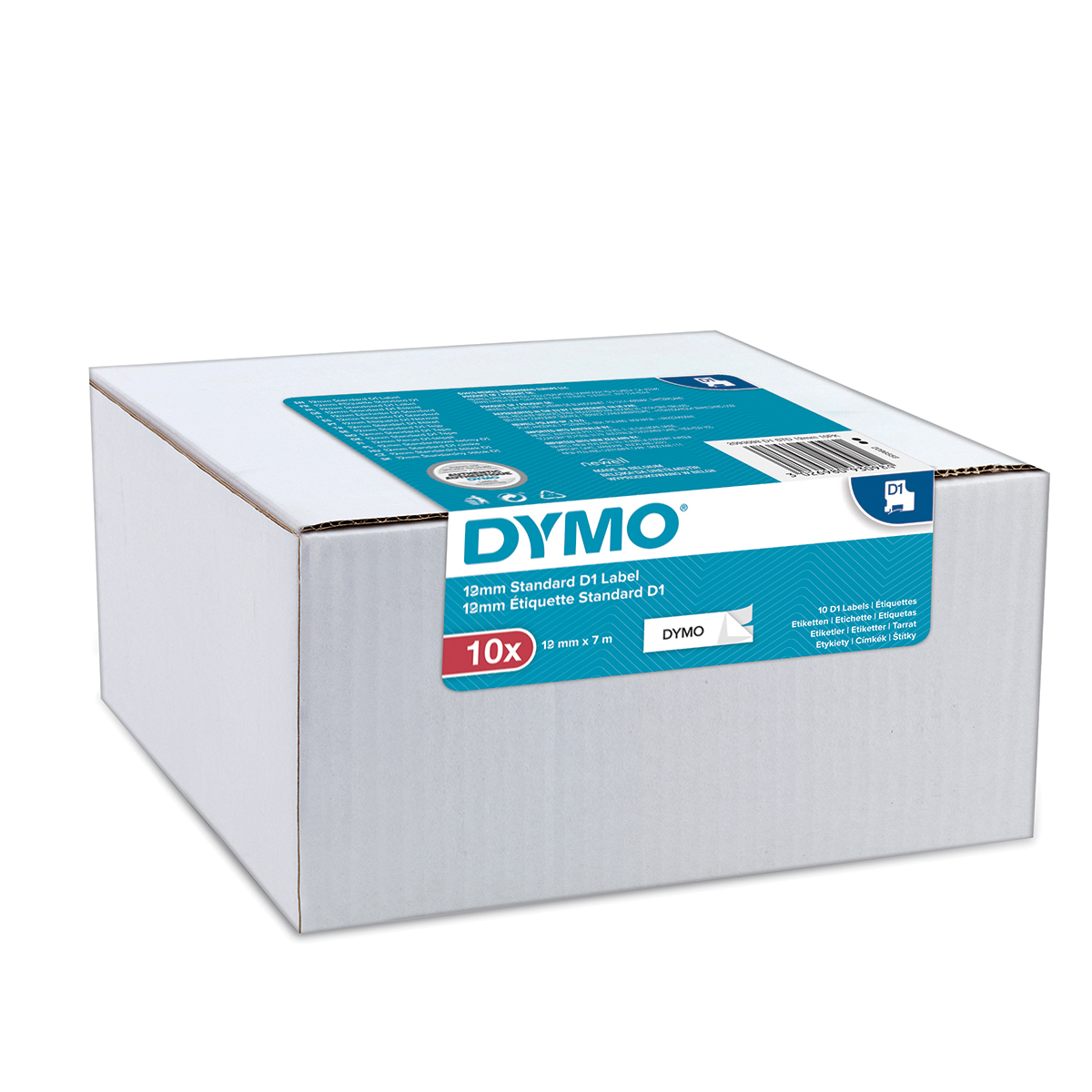 Dymo 45013 D1 12mm x 7m Black on White Tape Pack of 10