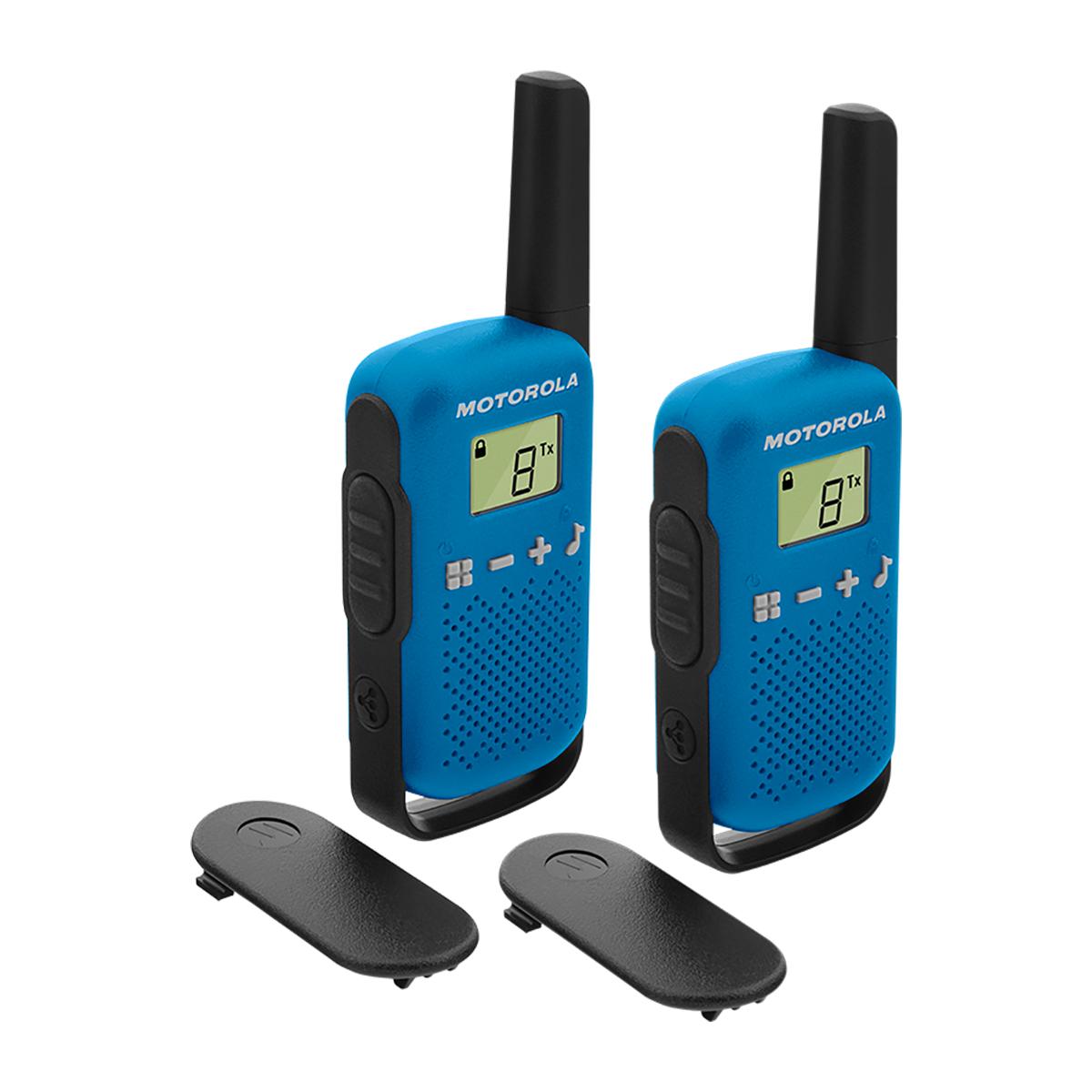 Motorola TLKR T42 Walkie Talkie Radio TWIN Pack Blue
