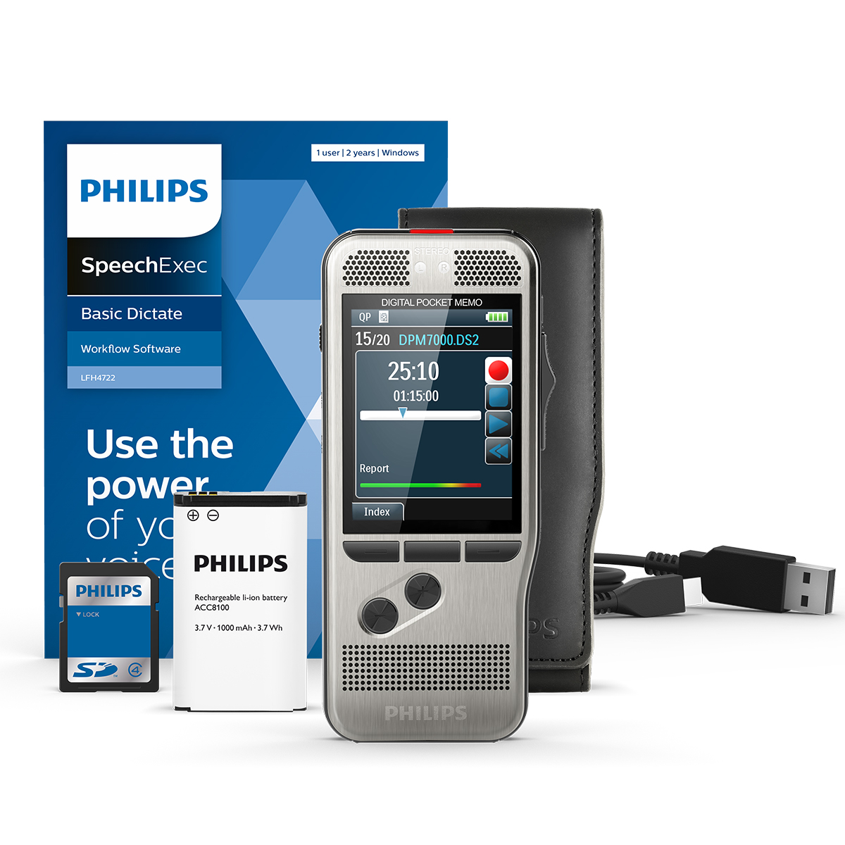 Philips DPM7700 Slide Switch Memo with SpeechExec 11 Transcription Set