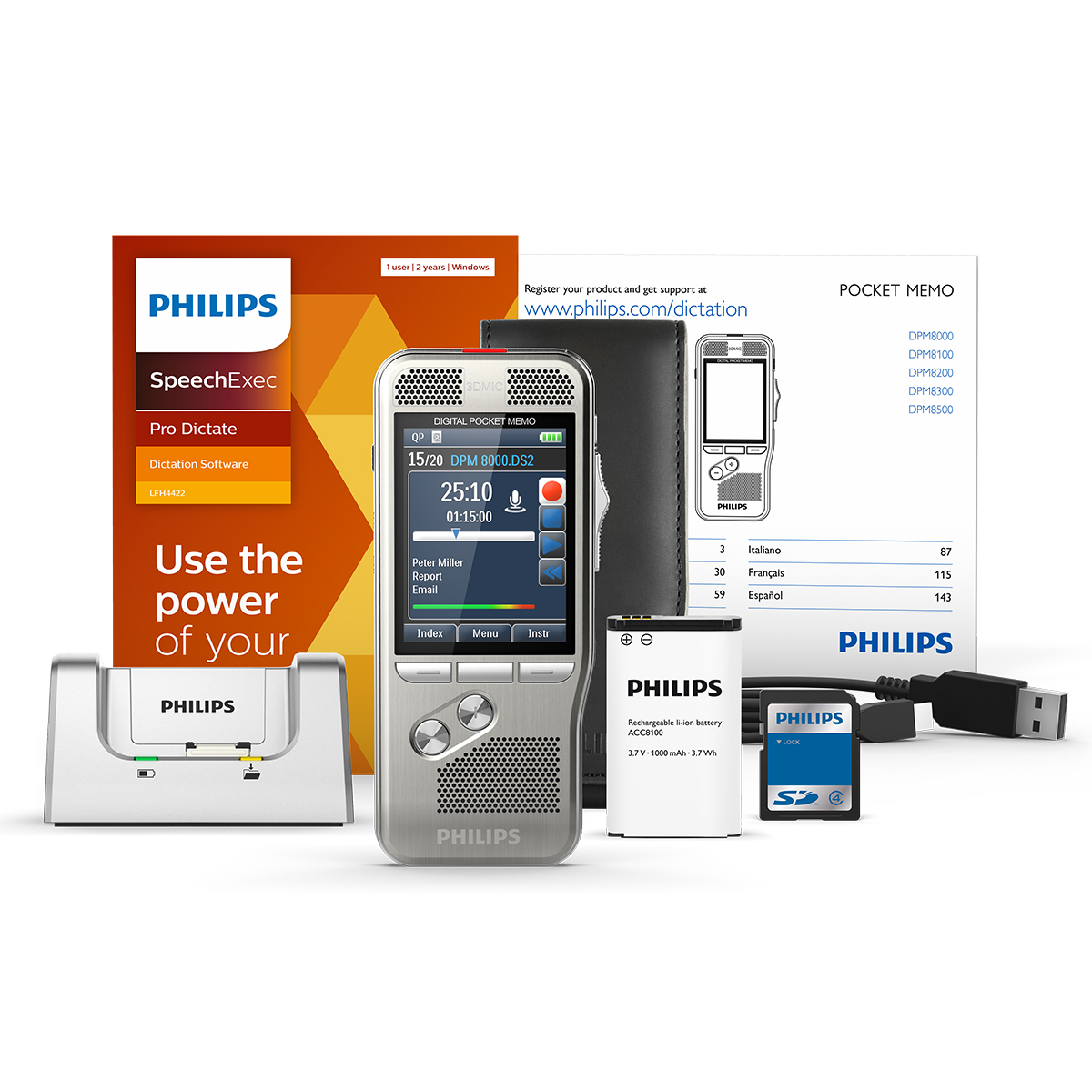 Philips DPM8000 Pocket Memo with SpeechExec Pro Dictate 11