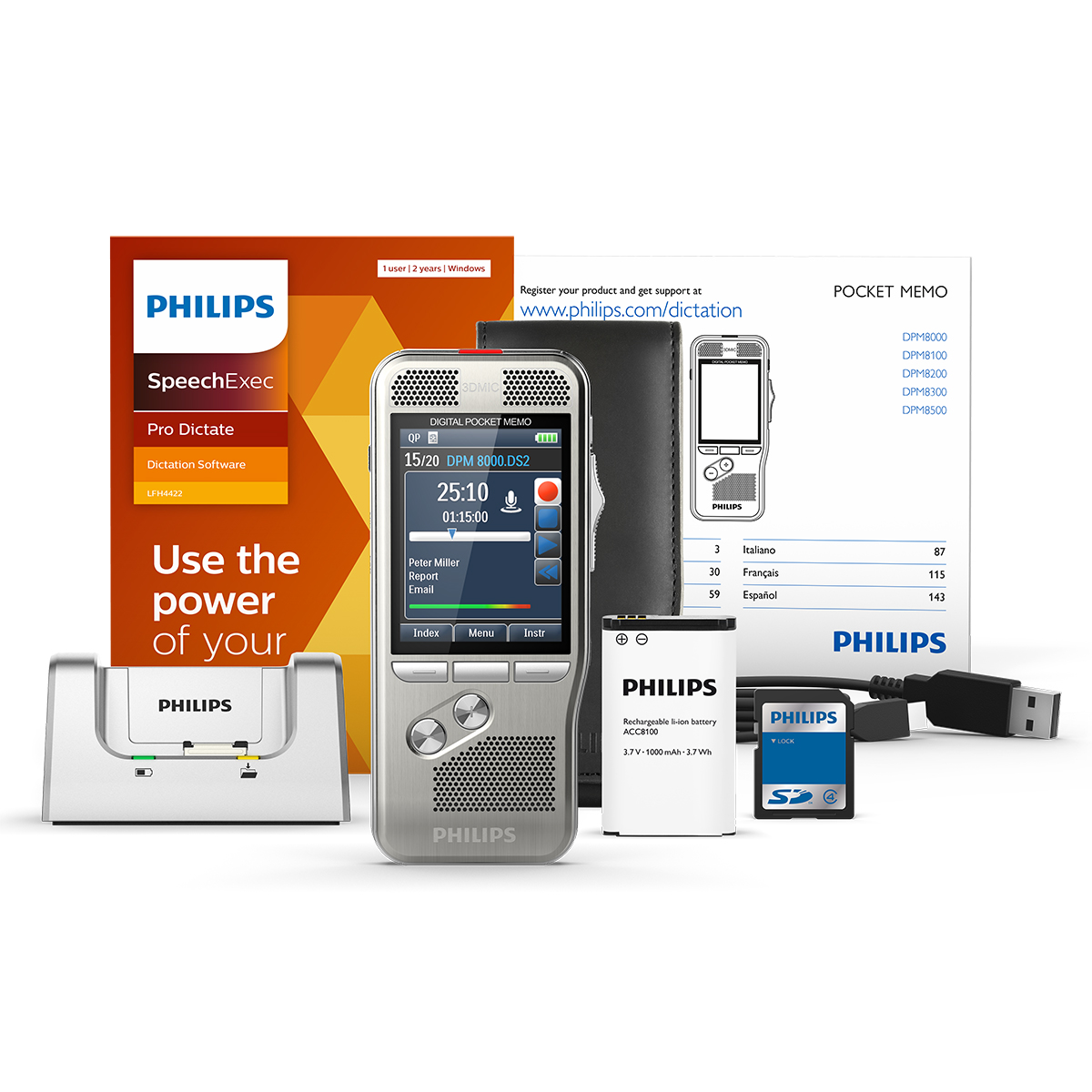 Philips DPM8200 Pocket Memo with SpeechExec Pro Dictate 11