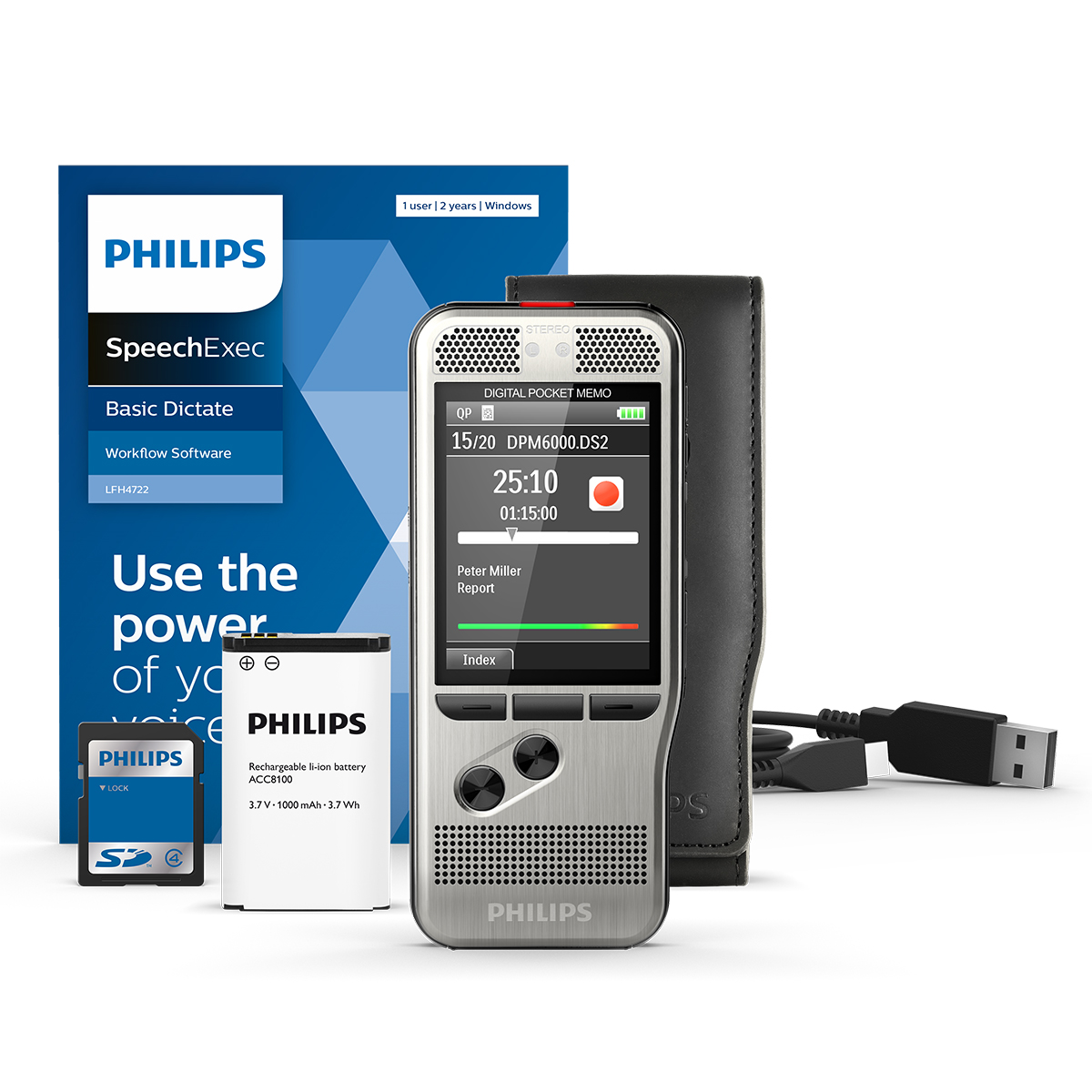 Philips DPM6000 Pocket Memo with SpeechExec Dictate 11