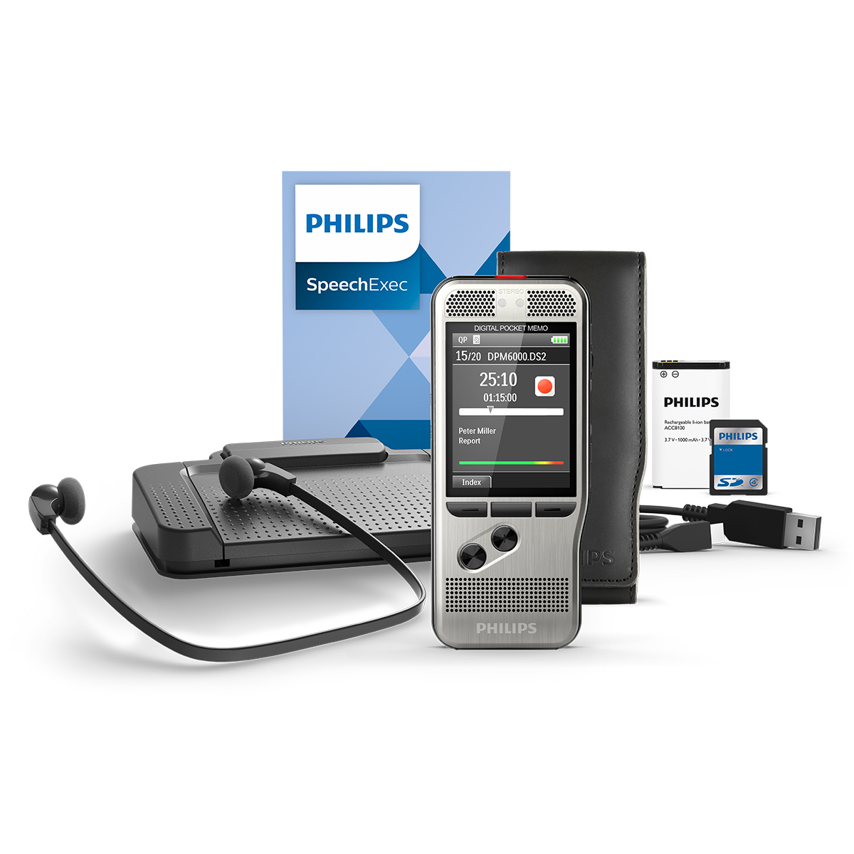 Philips DPM6700 Push Button Memo with SpeechExec 11 Transcription Set