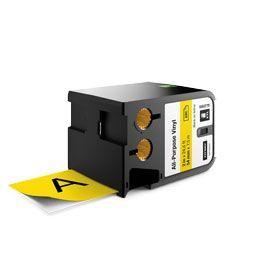 Dymo 1868775 XTL 54mm x 7m Roll All-Purpose Vinyl Black on Yellow