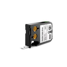 Dymo 1868806 XTL 12mm x 5.5m Roll Flexible Cable Wrap Black on White