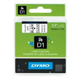 Dymo 43610 6mm x 7m Black on Clear Tape