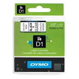 Dymo 45010 D1 12mm x 7m Black on Clear Tape