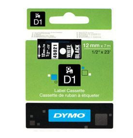Dymo 45013 D1 12mm x 7m Black on White Tape