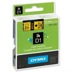Dymo 45018 D1 12mm x 7m Black on Yellow Tape