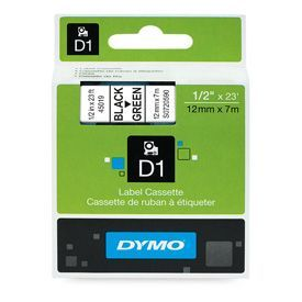 Dymo 45019 D1 12mm x 7m Black on Green Tape