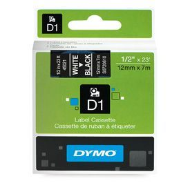 Dymo 45021 D1 12mm x 7m White on Black Tape