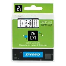 Dymo 45809 19mm x 7m Black on Green Tape