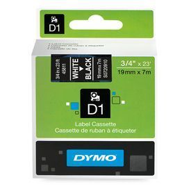 Dymo 45811 19mm x 7m White on Black Tape