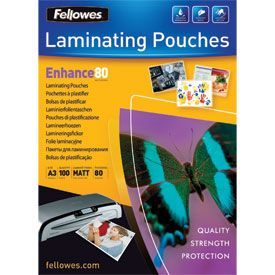 Fellowes 5452003 Matt A3 80Mic Pouch 100pk