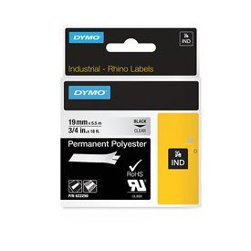 Dymo 622290 19mm Black on Clear Tape