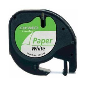Dymo 91200 12mmx4m Black On White Paper Tape