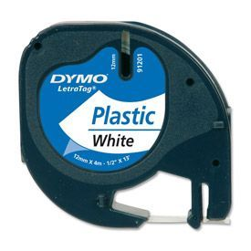 Dymo 91201 12mmx4m Black On White Plastic Tape