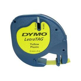 Dymo 91202 12mmx4m Black On Yellow Plastic Tape