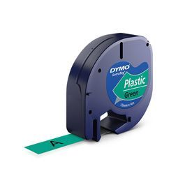 Dymo 91204 12mm x 4m Black On Green Plastic Tape