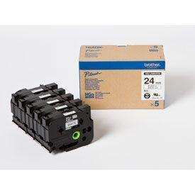 Brother HGE-251V5 Black on White  8M x 24mm High Grade Tape 5pk