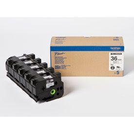 Brother HGE-261V5 Black on White 8M x 36mm High Grade Tape 5pk