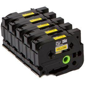 Brother HGE-651V5 Black on Yellow 8M x 24mm High Grade Tape 5pk