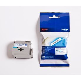 Brother MK233BZ Blue on White 8M x 12mm Plastic Tape