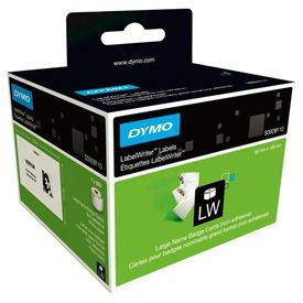 Dymo S0929110 62mm x 106mm Large Name Badge Cards Black On White