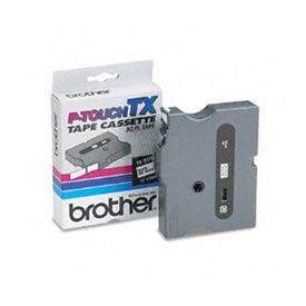 Brother TX315 White on Black 6mm x 15m Gloss Tape