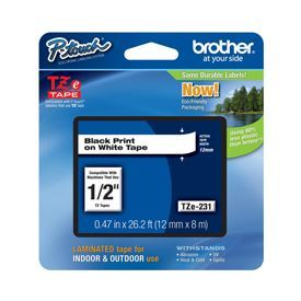 Brother ZE231 Black on White 8M x 12mm Gloss Tape Twin Pack