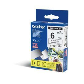 Brother TZEFX211 Black on White 8M x 6mm Flexi Tape