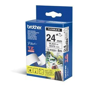Brother TZEFX251 Black on White 8M x 24mm Flexi Tape