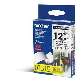 Brother TZES131 Black on Clear 8M x 12mm Strong Adhesive Tape