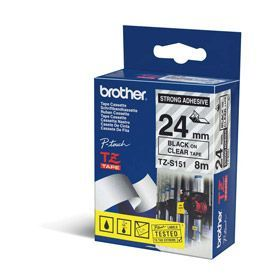 Brother TZES151 Black on Clear 8M x 24mm Strong Adhesive Tape
