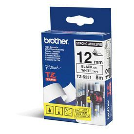 Brother TZES231 Black on White 8M x 12mm Strong Adhesive Tape