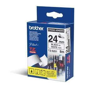 Brother TZES251 Black on White 8M x 24mm Strong Adhesive Tape