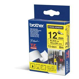 Brother TZES631 Black on Yellow 8M x 12mm Strong Adhesive Tape