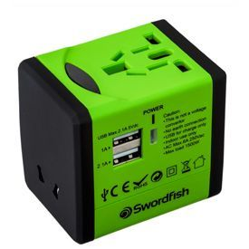 Swordfish VariPlug Dual USB Universal Travel Adapter Green