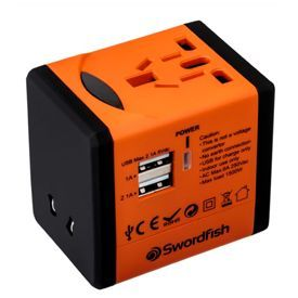 Swordfish VariPlug Dual USB Universal Travel Adapter Orange