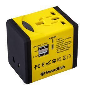 Swordfish VariPlug Dual USB Universal Travel Adapter Yellow